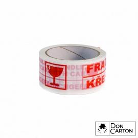 Lepicí páska 50x66 AC Silent potisk FRAGILE/křehké, bílá/červená