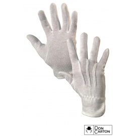 Rukavice MAWA, textilní s PVC terčíky, bílé, vel. 09