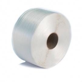 Vázací páska PES WG 50, 16 mm x 850 m, podélná, bílá, d. 76 mm, Rm 450kg