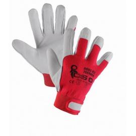 Rukavice TECHNIK, kombinované, červeno-bílé, vel. 11