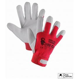 Rukavice TECHNIK, kombinované, červeno-bílé, vel. 10